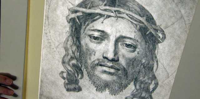 Клод Меллан - гравюра голова Христа и плат Вероники