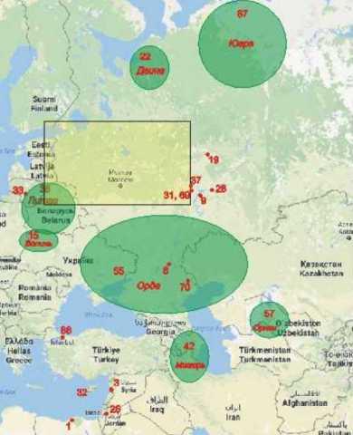 Общая картосхема географических названий Рогожского летописца