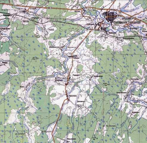 Синяя Вода (Синяя) на современной карте Тверской области