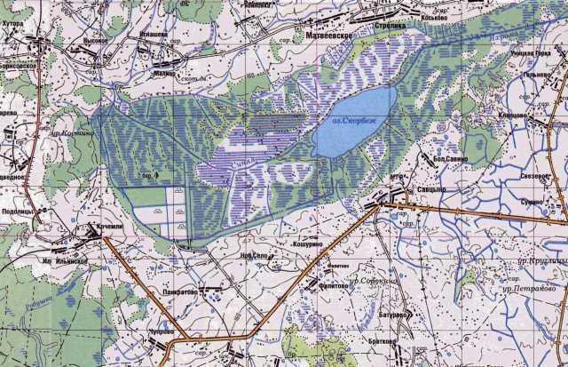 Река Синяя и озеро Скорбёж на современной карте Тверской области