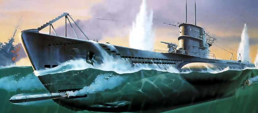 Немецкая подводная лодка против американских танков