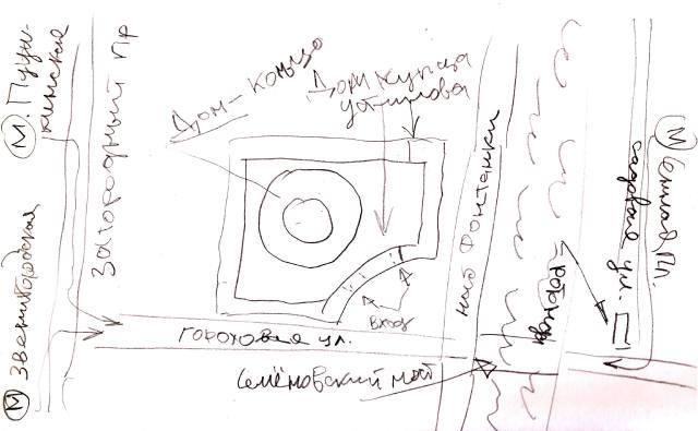 Круглый дом-кольцо в Петербурге на карте