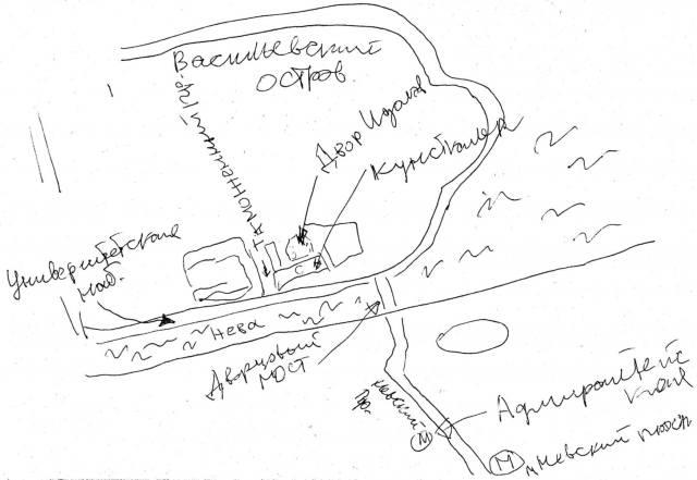 Двор Кунсткамеры с идолами на карте