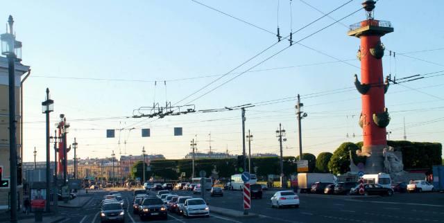 Вид на Биржевую площадь с Университетской набережной