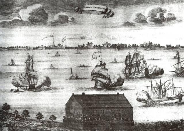 Петербург в 1704 году. Гравюра П. Пикарта