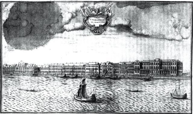 Набережная левого берега Невы у дворца Ф.М. Апраксина