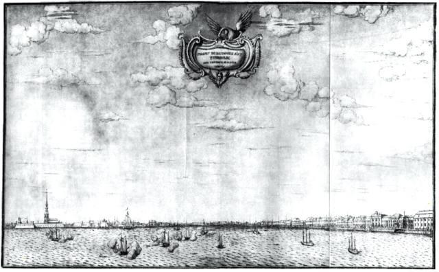 Панорама Невы. Вид со стороны моря. Рисунок X. Марселиуса