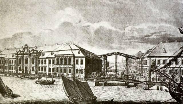 Зимний дворец и подъёмный мост через Зимнюю канавку