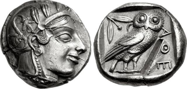 Тетрадрахма Афины классического стиля сова