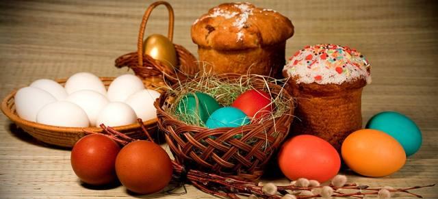 Пасха — куличи и крашенные яйца