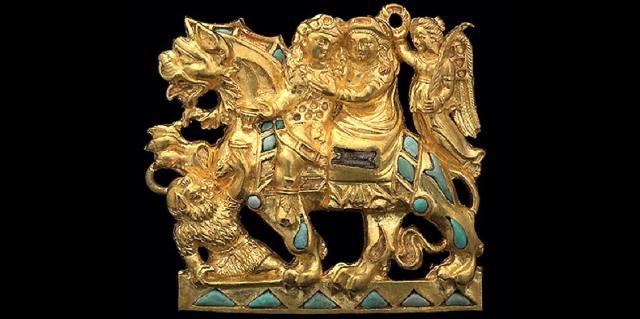 Золотая пряжка Дионис и Ариадна